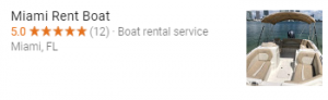 Google Reviews - Miami Boat Rental Company